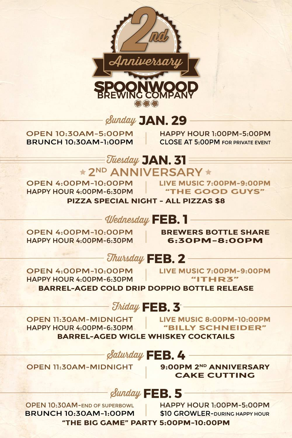 2nd Anniversary Spoonwood Brewing C.