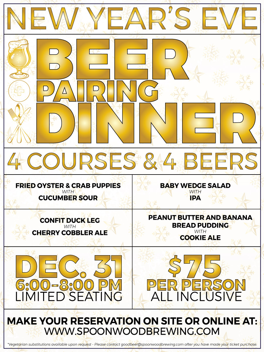 2019 New Year's . Eve Beer pairing Dinner Informational Graphic